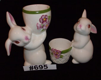 Rabbits Collectibles Egg or Tealight Holders Avon Exclusive 1981 Sunny Bunny Ceramic Rabbit Candleholders 1981 Vintage Avon Collectibles