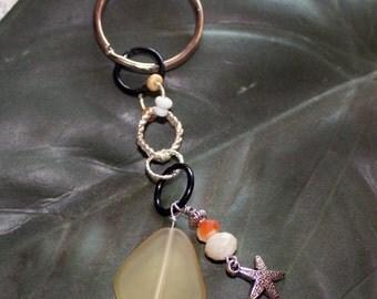 Starfish & Sea Glass Keychain