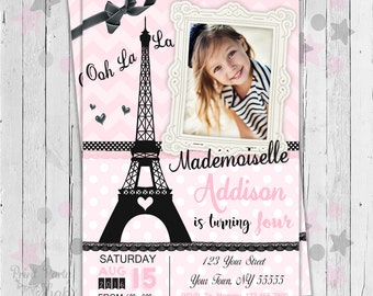Paris Birthday Invitation / Printable Invitation / Birthday Invitation