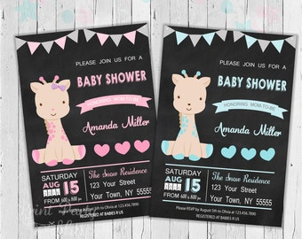 Giraffe Baby Shower Invitation / Digital File / Baby Shower Invitation