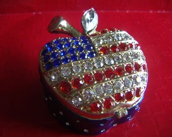 Patriotic  4th of July Apple Tinker Rhinestone Jewelry Box Stunning! Red White Blue Rhinestones Patriotic Apple Tinker Box
