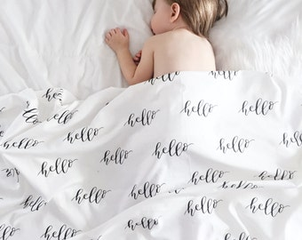 Hand Lettered, Hello, Organic Baby Blanket, Swaddle Blanket, Crib Blanket, Stroller Blanket