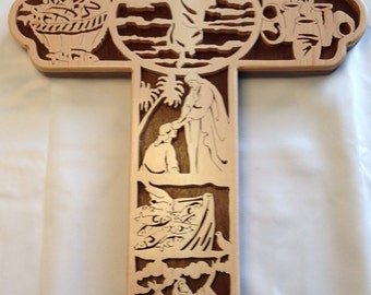 Miracles Bible Story Cross - Maple & Walnut
