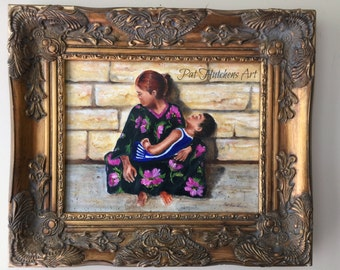 "Gift, Mothers paintings "" With Love From Russia"" Paintings of mothers and children, cityscape, traditional art, original art,"