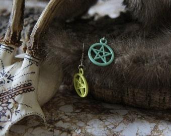 Handmade 2 Colour Pastel Green Pentagram Earrings
