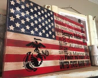 Marine Corps Flag Rustic Flag USMC