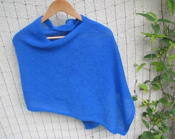 women blue poncho knit poncho wool poncho wool cape black knit poncho shawls knit scarf knit wrap knit shrug knit blanket knit sweater