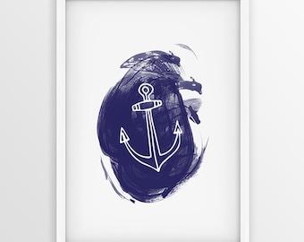 Anchor Nautical Print ,  Blue Nautical Wall Decor ,  Blue Anchor Wall Art ,  Nautical Decor, Nautical Nursery, Beach Art , Anchor PRINTABLE
