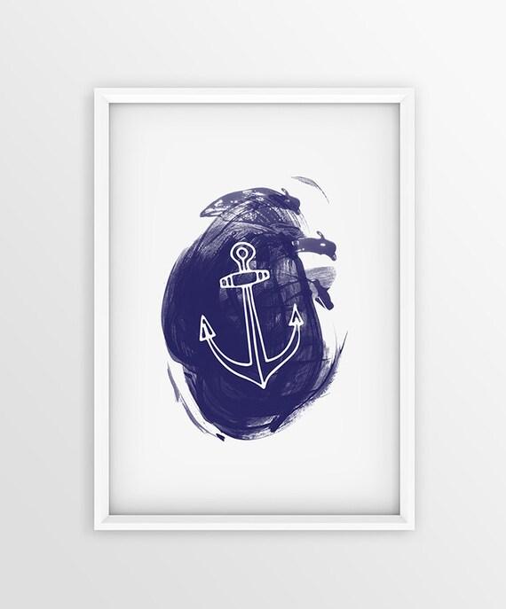 Blue Anchor Wall Decor : Anchor nautical print blue wall decor