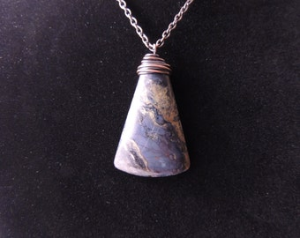 Triangular Blue Pietersite Pendant Necklace Wrapped in Copper