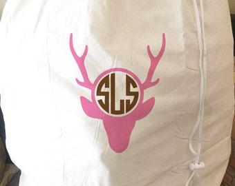 Monogrammed Large Laundry Bag - Hunting Design