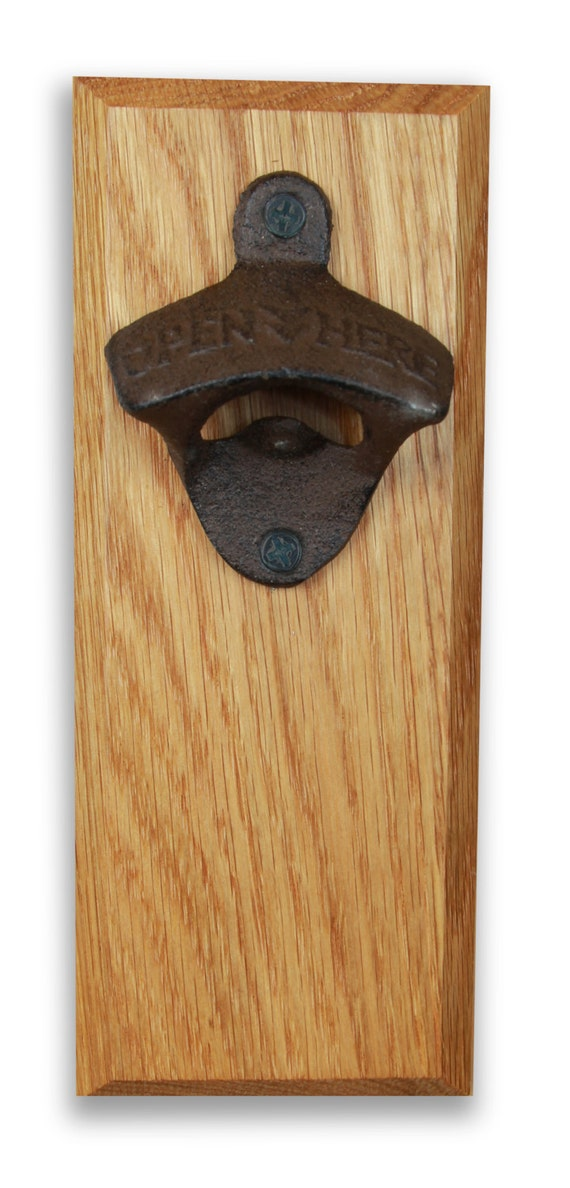 Bottle Opener Magnetic Cap Catcher Handcrafted Oak Wood With