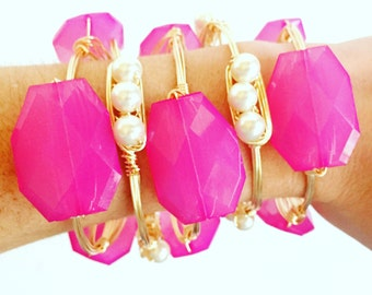 Pearl Wire Wrap Bangle, Bracelet