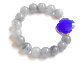 Blue Clover and Grey Agate Beaded Bracelet