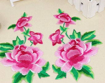 A Pair Embroidered Flower Applique Patch,Floral And Leaves Patch,Decorations Patch,Embroidery Applique