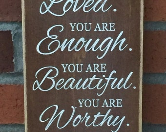"Rustic Wood Sign - You Are Loved - 6"" x 12"""