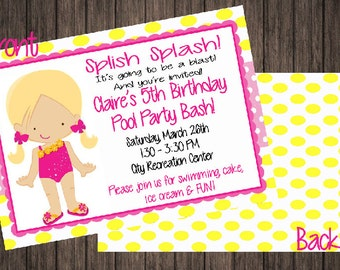 2 Sided Pool Party Birthday Invitation