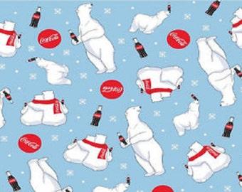 Coke Polar Bear Fabric-Blue White Polar Bear-Coca Cola Signs-Sykel Fabrics