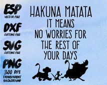 Hakuna Matata Clipart , SVG Cutting , ESP Vectors files , T shirt , iron on , sticker ,Personal Use