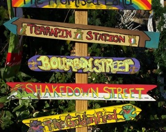 Handmade by Yard Funk Grateful Dead Inspired Garden and Home Decor/Yard Art/Signs w/Post Tabletop Signpost