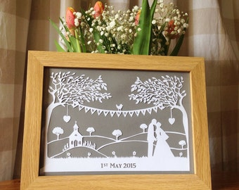 Wedding Personalised Framed Papercut