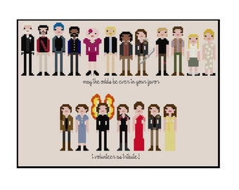 The Hunger Games with Outfits Parody- Cross Stitch Pattern PDF Instant Download