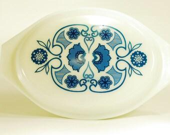 Vintage Pyrex Horizon Blue Divided Casserole Dish