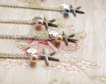 Bridesmaid necklace set of 6 six Starfish necklace Personalized bridesmaid jewelry with initial, Swarovski bead, starfish Bridesmaid gift