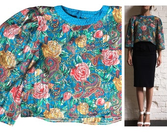 Multicolour Bell Sleeve 80's Crop Top Roses Paisley