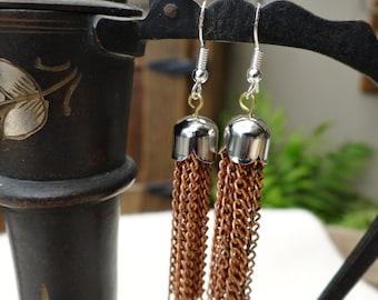 Handmade Silver and Copper Chain Metal Tassel Earrings - ERU174