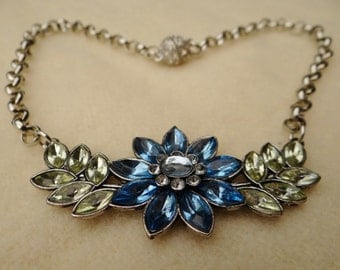 Blue Rhinestone Flower Assemblage Necklace - NRU233