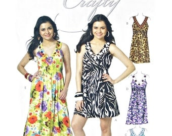 2010 McCall's M6114 Misses' V Neckline Empire Dress in Three Lengths, New, OOP, Factory Folded Sewing Pattern Plus Size 14-16-18-20