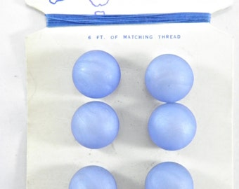 "Vintage 1960's Embassy 10 mm (3/8"") Carded Plastic Mauve Blue Dome Shank Buttons"
