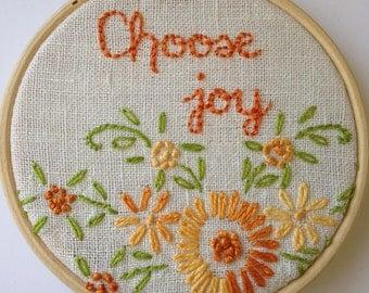 Choose Joy Hoop Art