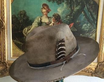 Custom Mens Hat, Wide brim fedora, mens custom hat, handmade hat, aged and distressed custom fedora, one-of-a-kind hat