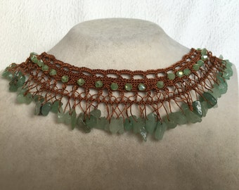 Crystal beaded Green/Brown colour Handmade Necklace Crochet jewelry handcrafted Jewellery with FLUORITE Semi Precious/Natural Stone-gemstone