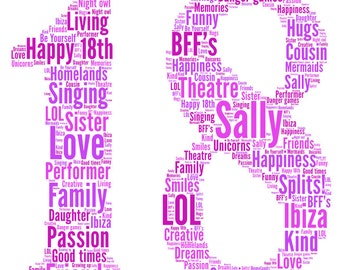 Personalised word art 18 design, typography, fabulous gift for 18th birthday or 18th anniversary