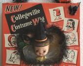 Vintage OOAK kitsch HALLOWEEN Shadowbox/Diorama. Made in Japan spun cotton flocked Angel in Collegeville Costume Wig box