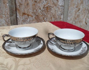 Tea Cups And Saucers, Bavaria Fine Bone China Set Of Two Cups And Saucers