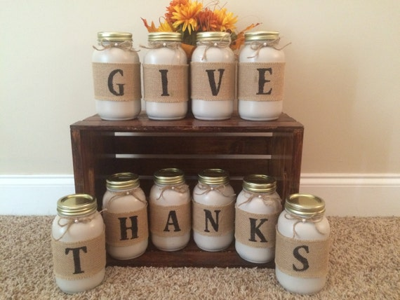 Thanksgiving Decor Give Thanks Mason Jars Fall Home Decor