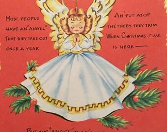 Vintage Christmas Card, Mom, Unused, NOS, 1950s