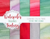 WATERCOLOR Digital Paper Commercial Use Background Paper Coral Red & Green Watercolor Washes REAL Hand-Painted Fantasy Watercolor Textures