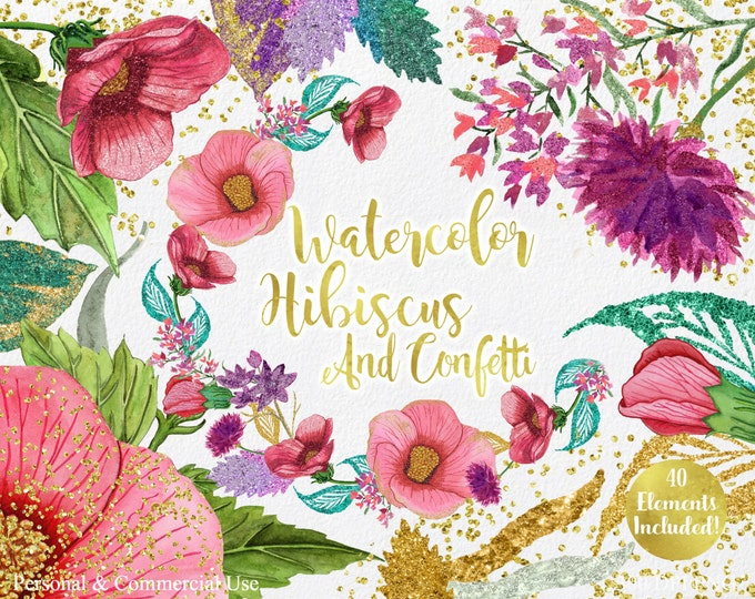 TROPICAL HIBISCUS Watercolor Floral ClipArt Summer Flower Clipart Commercial Use Watercolor Floral Wreaths Gold Confetti Invitation Clip Art