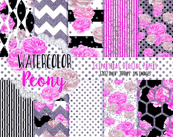 PINK FLORAL Digital Paper Pack Black White Purple Pink Watercolor Commercial Use Digital Paper Peony Stripes Shabby Chic Digital Backgrounds