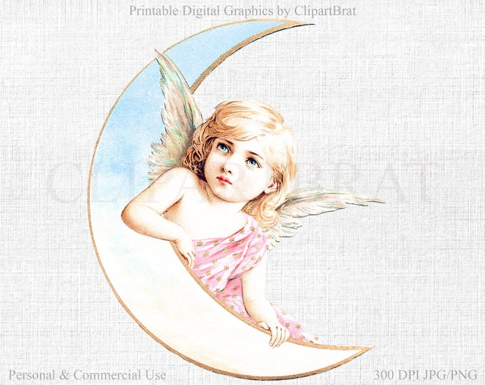 MOON FAIRY Clipart Commercial Use Clipart Angel & Moon VICTORIAN Scraps Clipart Fabric Transfer Clipart Gold Foil Angel Graphic Jpg/Png