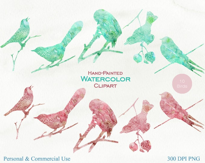 WATERCOLOR BIRDS Clipart Commercial Use Clipart Cranberry & Mint Watercolor Hand-Painted Watercolor Bird Graphics Bird Silhouette Clipart