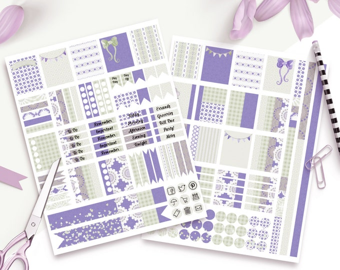 PLANNER STICKER Sheets Lavender & Sage Banners With Confetti Printable Digital Stickers DIY Erin Condren Life Planner social media Icons