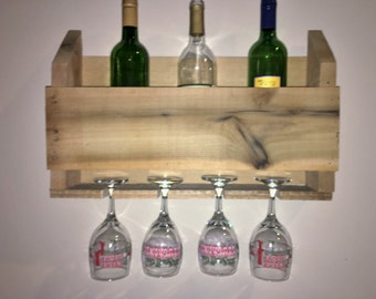 Pallet Wine Rack with Wine Glass Holder