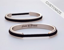 Hair Tie Bracelet Holder Personalized Gift Hair Tie Bangle Engraved Custom Name Bracelet Cuff Silver Graduation Anniversary Gift For Her
