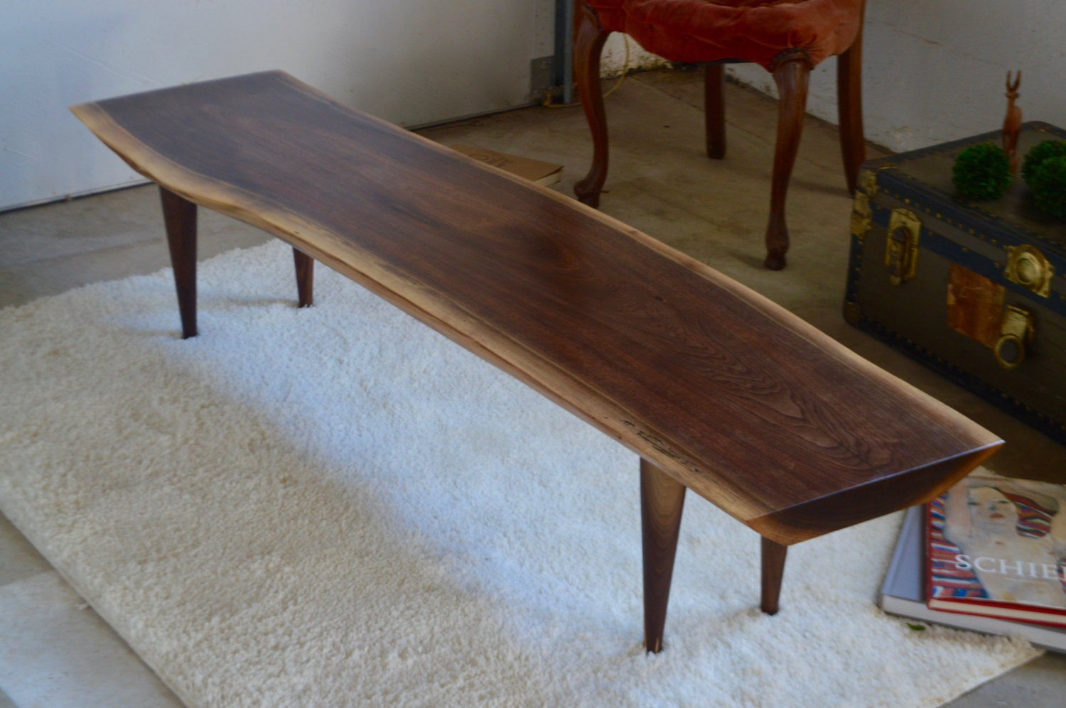 Live Edge Slab Walnut Coffee Table Bench